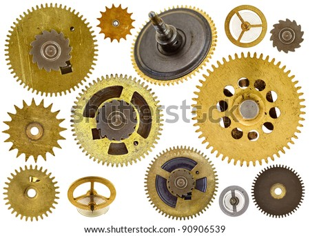 Collection of various old cogwheels - gears - on white background - stock photo