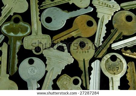 Collection of various old keys abutting each other