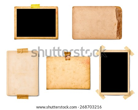 collection of various old photos instant film on white background. each one is shot separately - stock photo