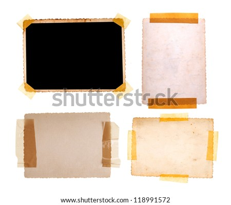 Collection of various old photos on white background - stock photo
