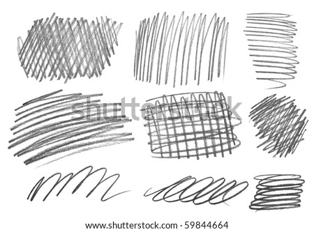 collection of  various pencil strokes on white background - stock photo