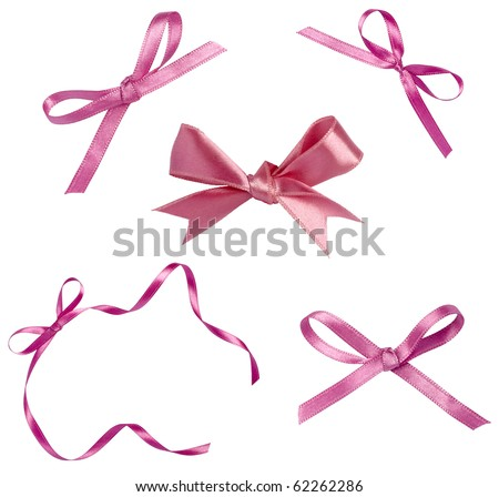 collection of various  ribbons on white background. each one is shot separately - stock photo