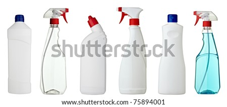 collection of various sanitary bottles on white background. each one is shot separately - stock photo