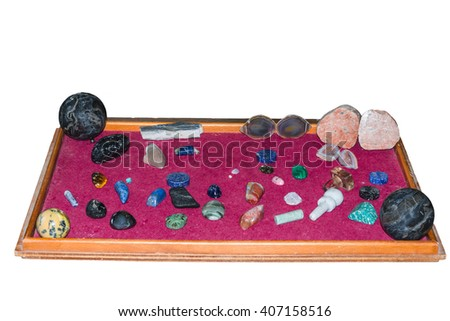 Collection of various semi-precious stones, crystal gemstones in various colors and sizes. - stock photo