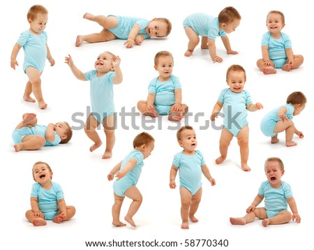 Collection of various situations of a baby boy's behavior. Isolated on white - stock photo