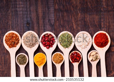 collection of various spices in wooden spoons - stock photo