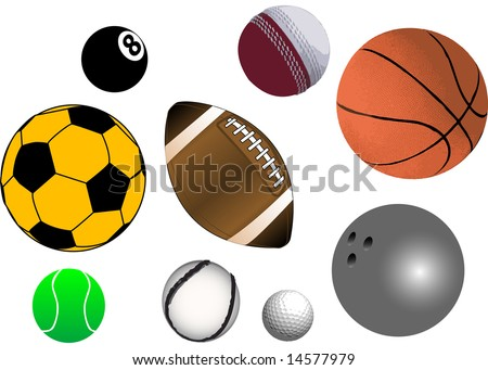Collection of various sports balls - stock photo
