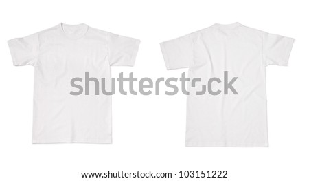 collection of  various t shirts on white background. each one is shot separately - stock photo
