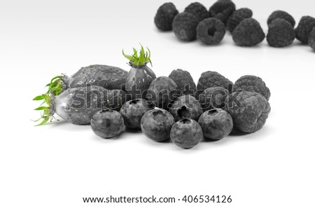 Collection of various type of ripe berry fruits isolated on white background.