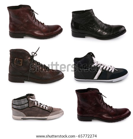 Collection of various types of male shoes isolated on white - stock photo