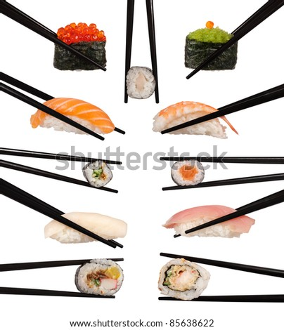 Collection of various types of sushi isolated on white - stock photo