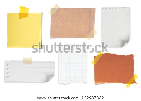 collection of various vintage note papers on white background - stock photo