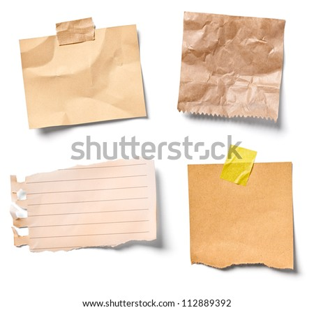 collection of  various vintage note papers on white background. each one is shot separately