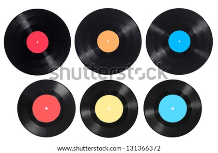 collection of  various vynil on white background. each one is shot separately - stock photo