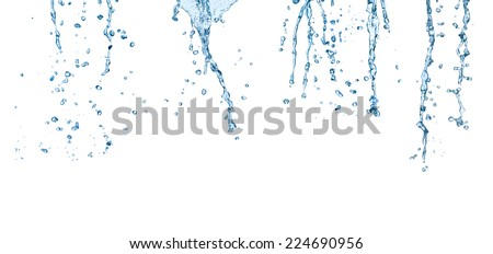collection of various water splashes on white background. each one is shot separately - stock photo