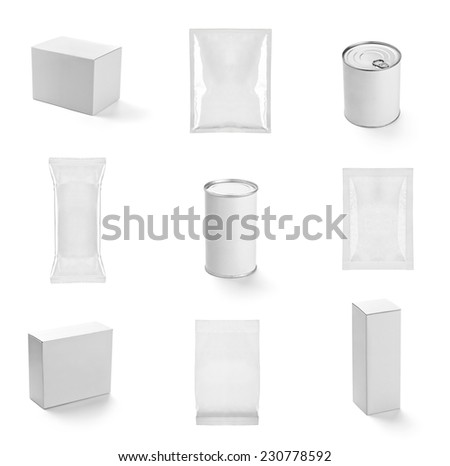 collection of  various white boxes can on white background. each one is shot separately - stock photo