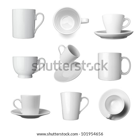 collection of various white coffee cups on white background. each one is shot separately - stock photo