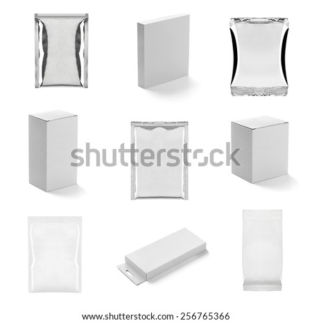 collection of  various white containers and bags on white background. each one is shot separately - stock photo