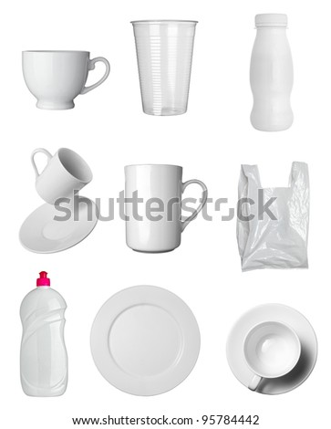 collection of  various white dishes, bottles and containers on white background. each one is shot separately - stock photo