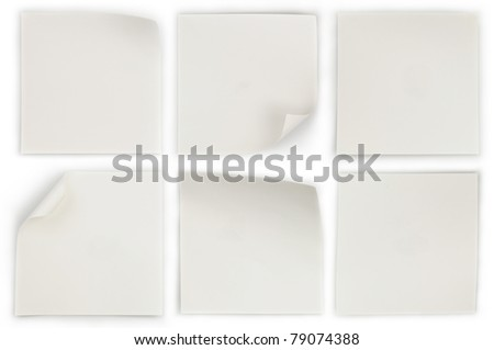 collection of various white note papers on white background - stock photo