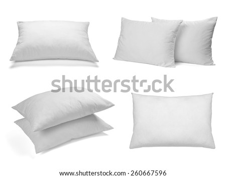 collection of various white pillows on white background. each one is shot separately - stock photo
