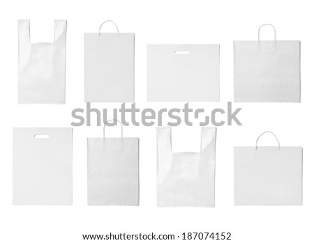 collection of  various white shopping bags on white background. each one is shot separately