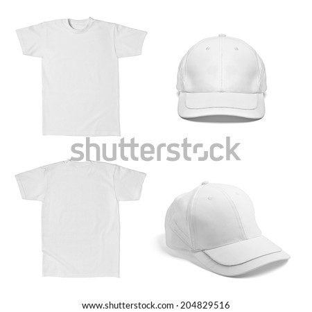 collection of various  white t shirt and  baseball cap template on white background. each one is shot separately - stock photo