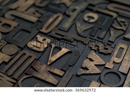 Collection of various wood type letters for printing - stock photo
