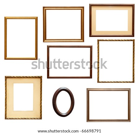 collection of various wooden frames for painting or picture on white background. each one is shot separately - stock photo