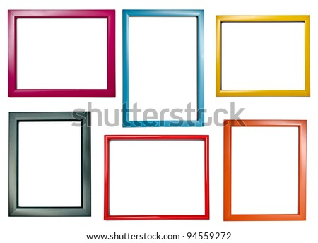 collection of various wooden frames for painting or picture on white background. each one is shot separately