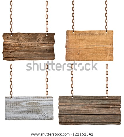 collection of  various wooden signs with chain on white background. each one is shot separately - stock photo