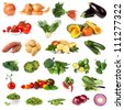 Collection of vegetable images, isolated on white. - stock photo