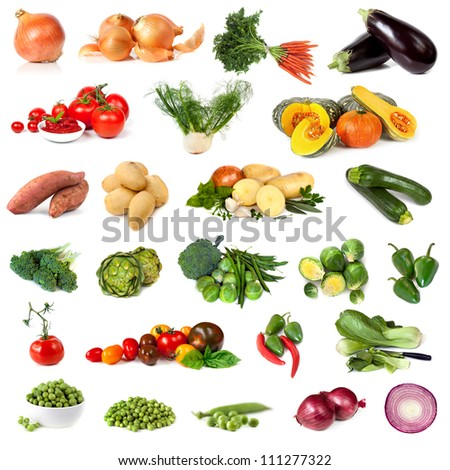 Collection of vegetable images, isolated on white.