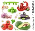 Collection of vegetables, healthy food with a light shadows isolated on white background - stock photo