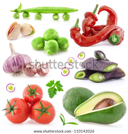 Collection of vegetables, healthy food with a light shadows isolated on white background