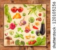 Collection of vegetables on grunge yellow paper and wooden background - stock photo