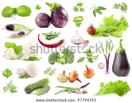 Collection of vegetables with a light shadows isolated on white background - stock photo