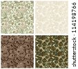 collection of vintage floral seamless pattern. Raster version - stock photo