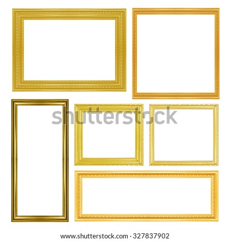 collection of vintage gold and wood picture frame, isolated on white