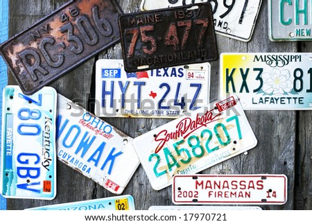collection of vintage license plates