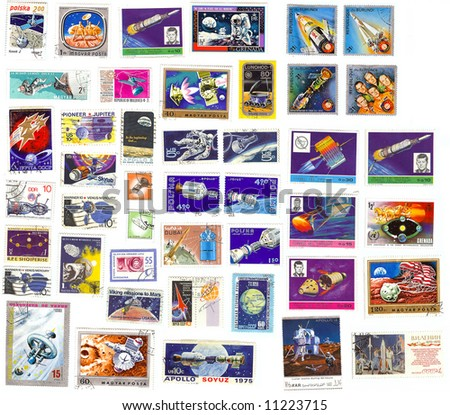 collection of vintage space stamps from different countries - stock photo