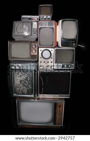 Collection of Vintage TV's and scopes - stock photo