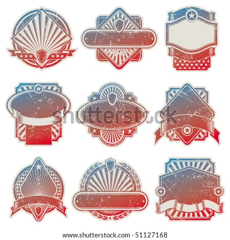 Collection of vintage usa labels - stock photo