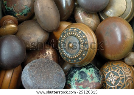 Collection of vintage weathered antique doorknobs