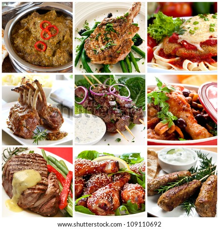 Collection of warm meat dishes. Includes lamb, pork, chicken and beef dishes. - stock photo