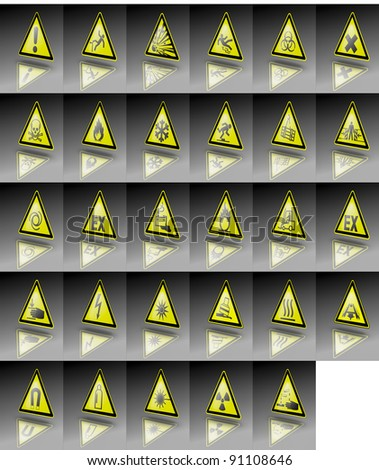 Collection of warning signs. Very most popular warning signs in on image. Illustration for dangerous environment or special risks - stock photo