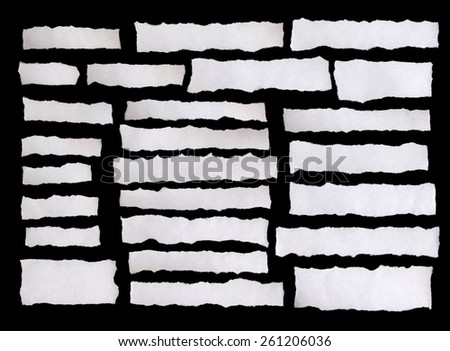 Collection of white paper tears, isolated on black background. - stock photo