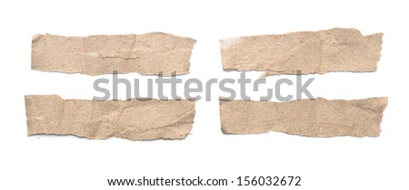 Collection of white paper tears, isolated on white with soft shadows.  - stock photo