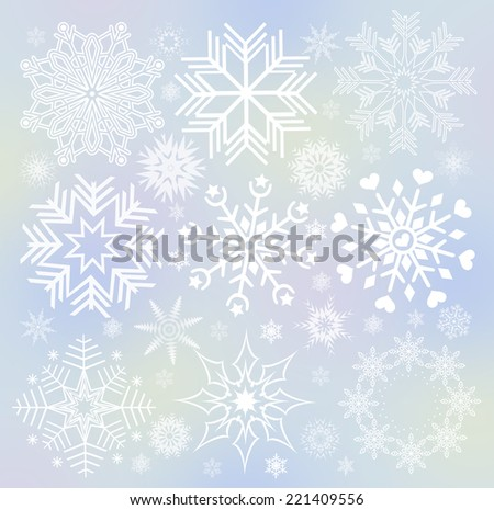 Collection of white snowflakes (set of snowflakes) illustration.