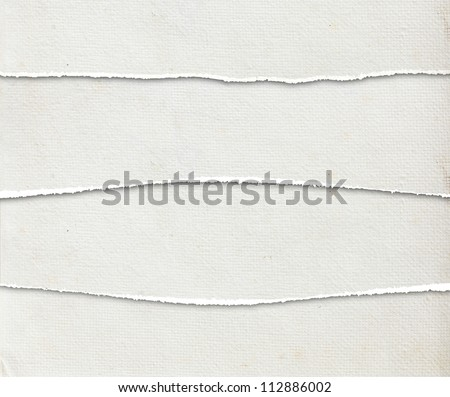 Collection of white torn paper textures background - stock photo